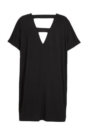 T-shirtjurk met open detail zwart