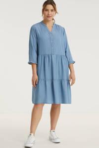 No.1 by OX A-lijn jurk met ruches lichtblauw, Lichtblauw