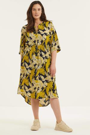 jurk met bladprint donkerblauw/geel/wit