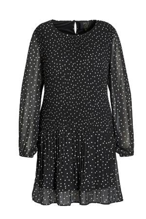semi-transparante A-lijn jurk met stippen en open detail zwart/wit