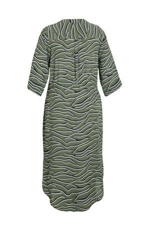 jurk met dierenprint groen/zwart/wit