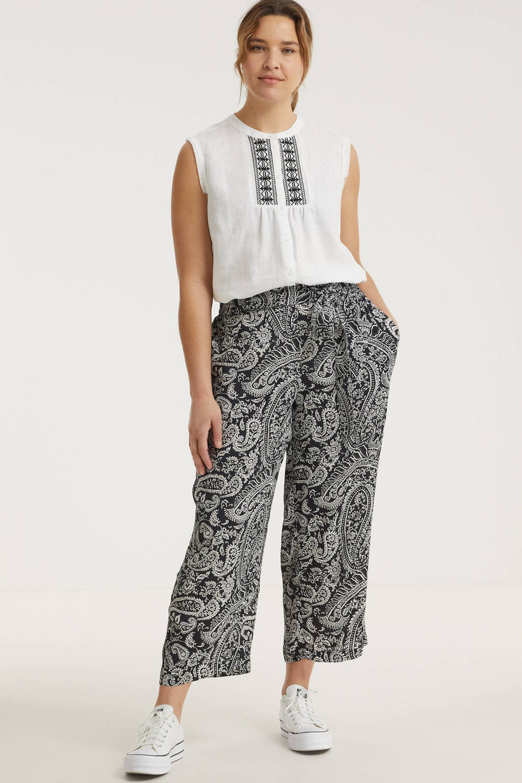 No.1 by OX cropped loose fit broek met paisleyprint zwart/wit, Zwart/wit