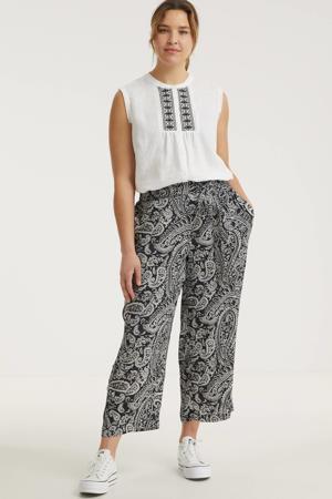 cropped loose fit broek met paisleyprint zwart/wit