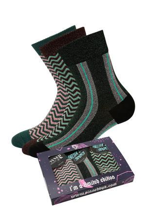 giftbox sokken - set van 3 zwart/multi