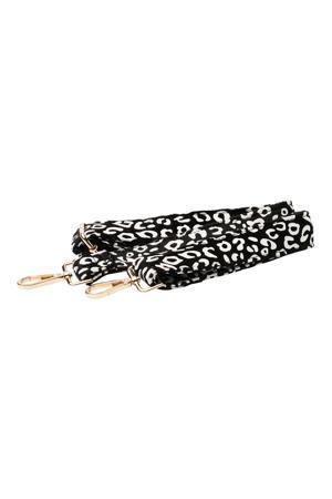 schouderband met panterprint zwart/wit