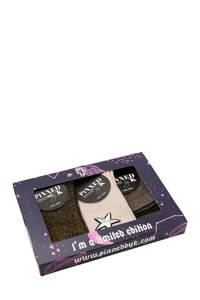 Pinned by K giftbox sokken - set van 3 multi, Zwart/lichtroze