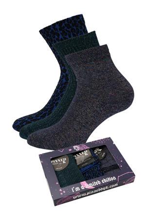 giftbox sokken - set van 3 blauw/zwart