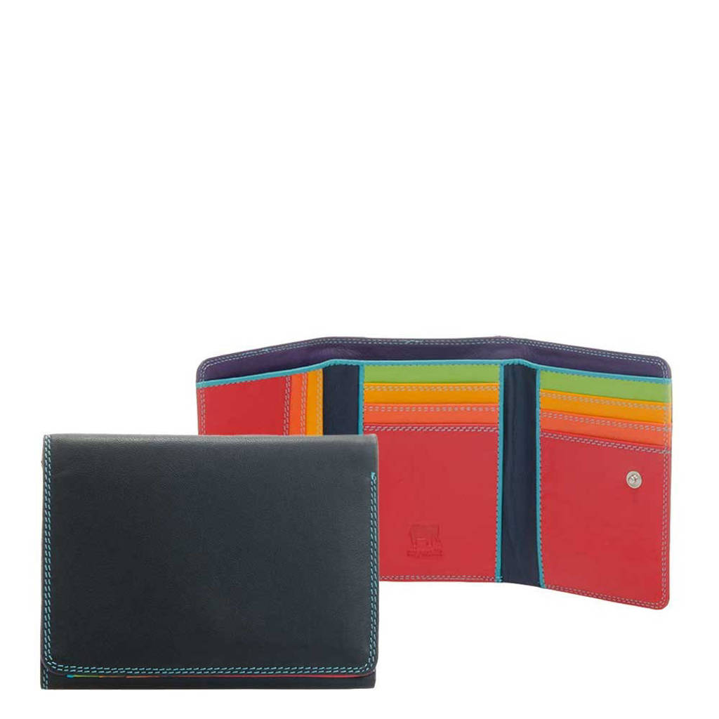 Mywalit leren portemonnee Medium zwart/multi, Zwart/multi