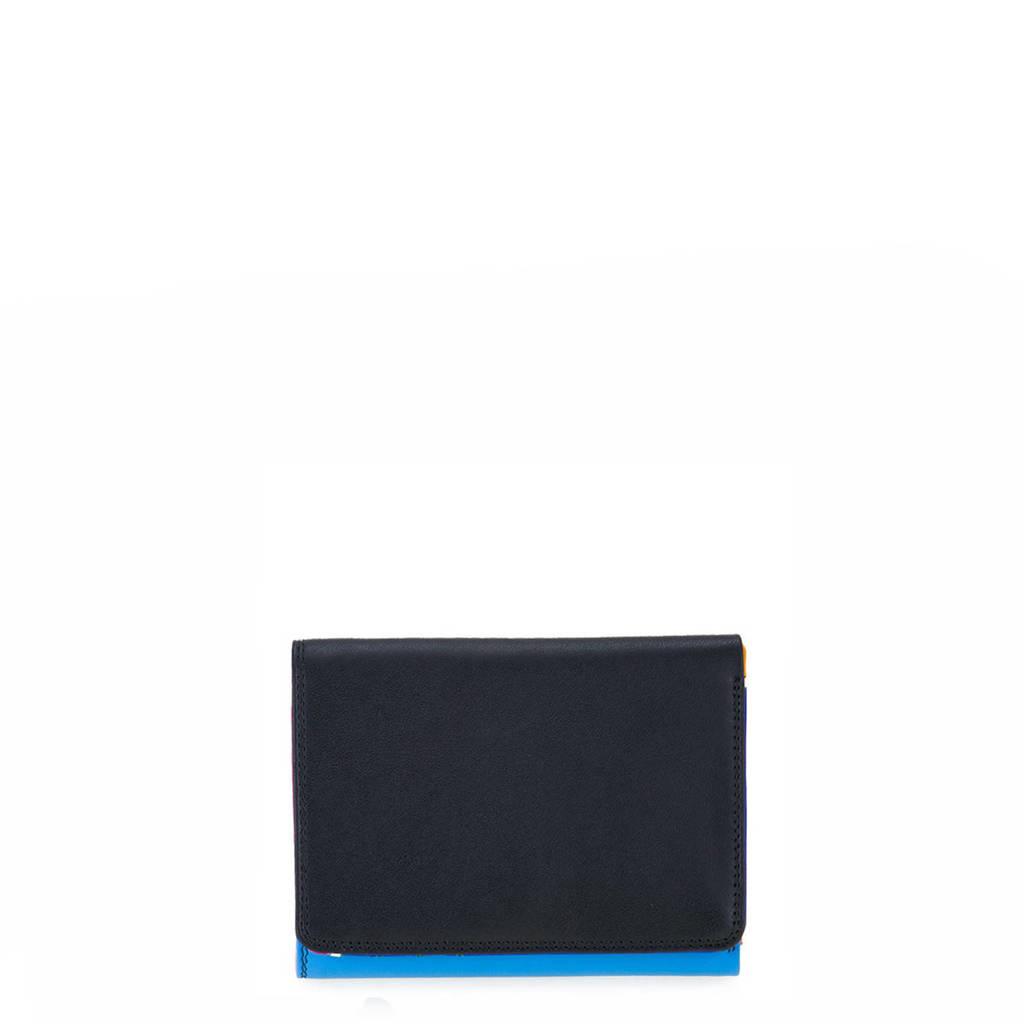 Mywalit leren portemonnee Medium zwart/blauw, Zwart/blauw