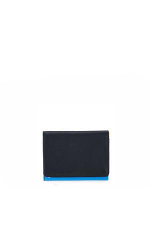 leren portemonnee Medium zwart/blauw