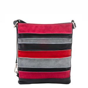 leren crossbody tas Laguna zwart/roze