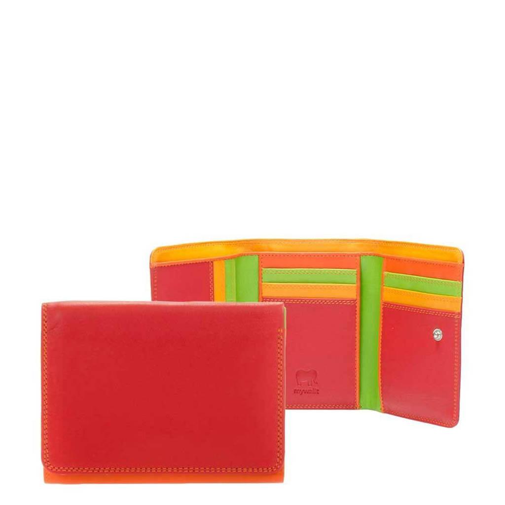 Mywalit leren portemonnee Medium rood/oranje, Rood/oranje