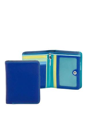 leren portemonnee Medium blauw/multi