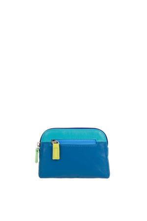 leren portemonnee blauw/multi