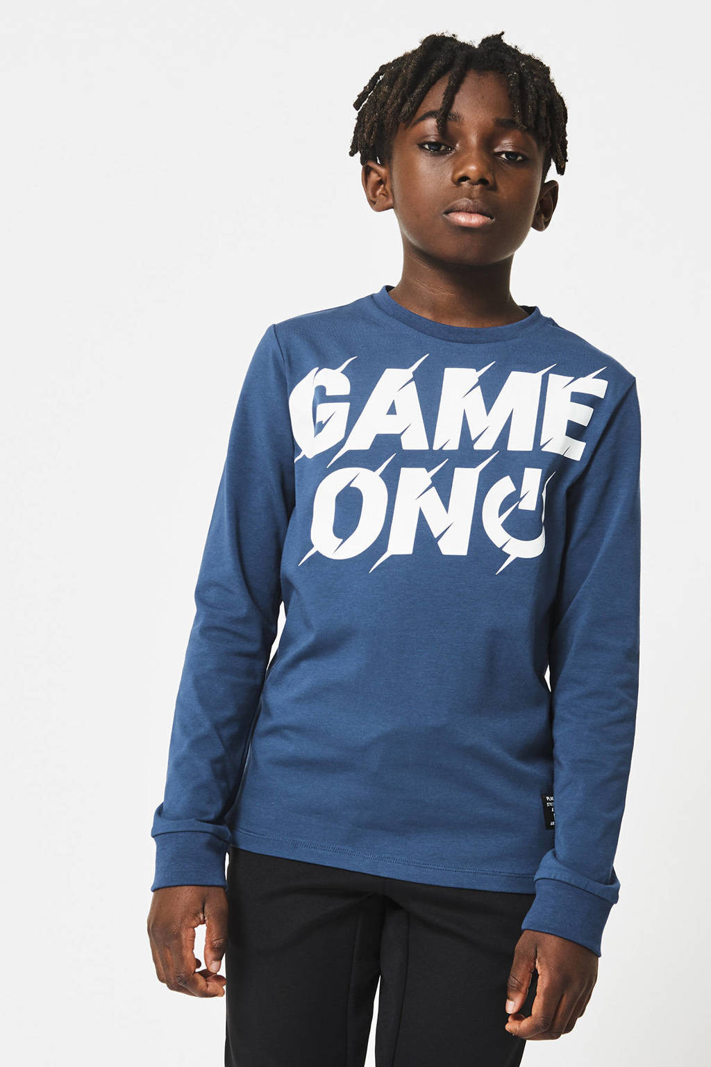CoolCat Junior longsleeve Leon met tekst blauw, Blauw