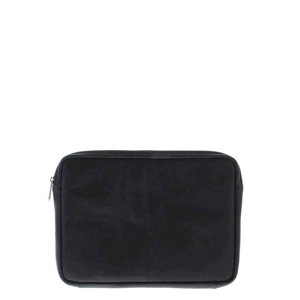 Plevier  12 inch leren laptopsleeve Urban zwart, Zwart
