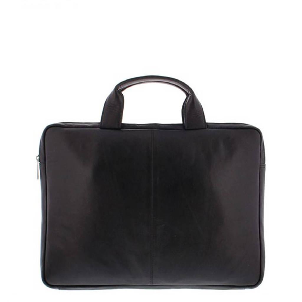Plevier  15.6 inch leren laptoptas Manasse zwart, Zwart