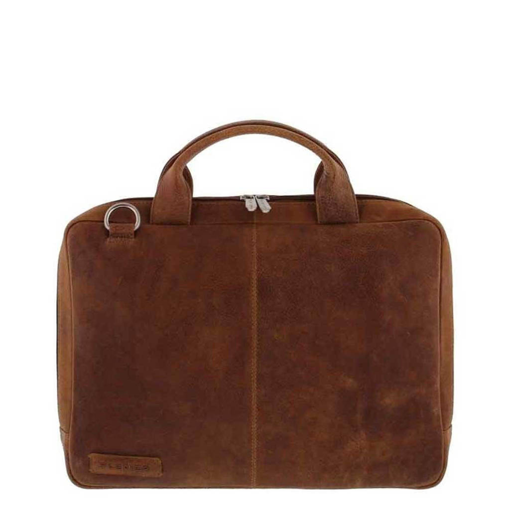 Plevier  14 inch leren laptoptas Urban Scarborough cognac, Cognac