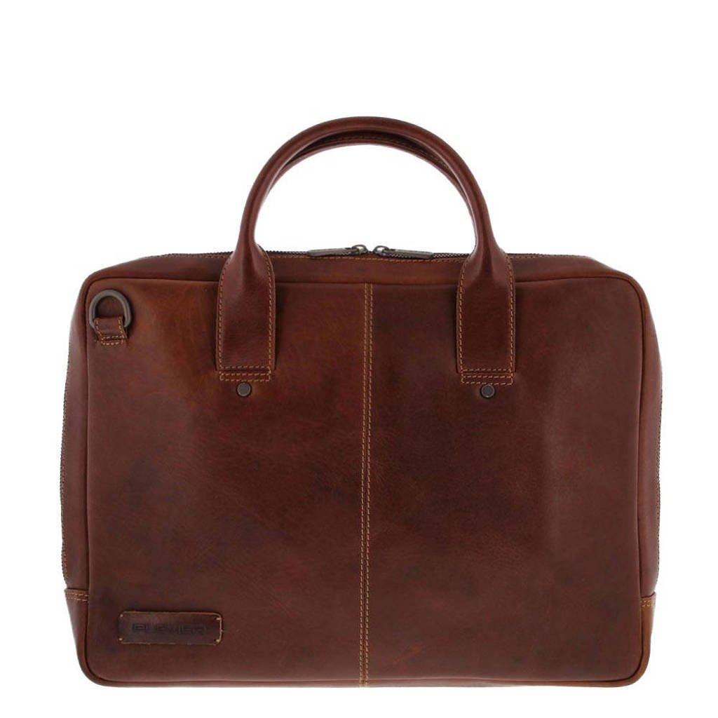 Plevier  15.6 inch leren laptoptas Navigator Loran cognac, Cognac