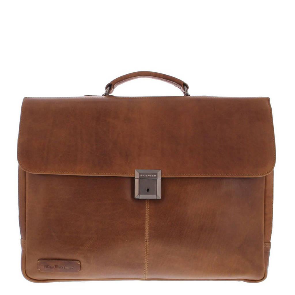 Plevier  17.3 inch leren laptoptas Navigator Decca cognac, Cognac