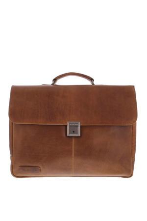 17.3 inch leren laptoptas Navigator Decca cognac