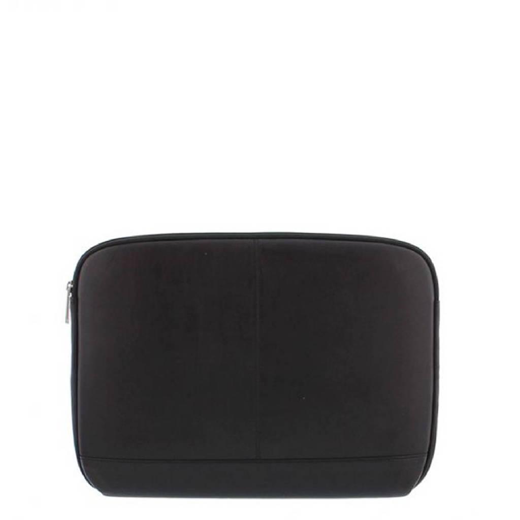 Plevier  14 inch leren laptopsleeve Manasse zwart, Zwart