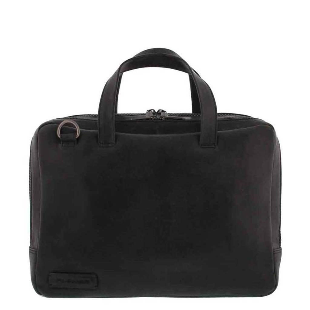 Plevier  14 inch leren laptoptas Pure Midlothian zwart, Zwart