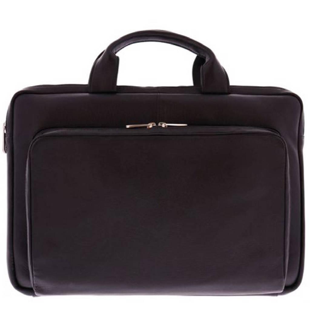 Plevier  15.6 inch leren laptoptas Moggridge zwart, Zwart