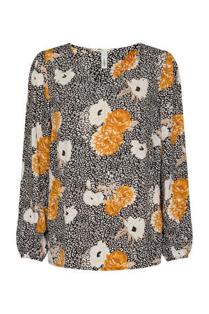 blouse SC-DALLAS 1 met all over print oranje