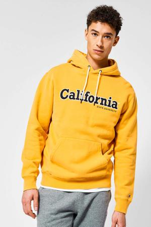 hoodie Sage California met tekst geel