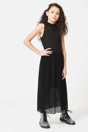 maxi jurk Desteny met all over print en glitters zwart