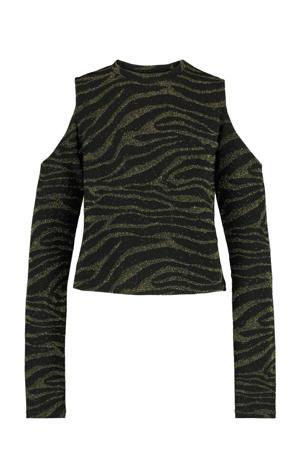 longsleeve Lana met zebraprint en glitters zwart/goud