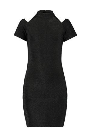 open shoulder jurk Defne met glitters zwart