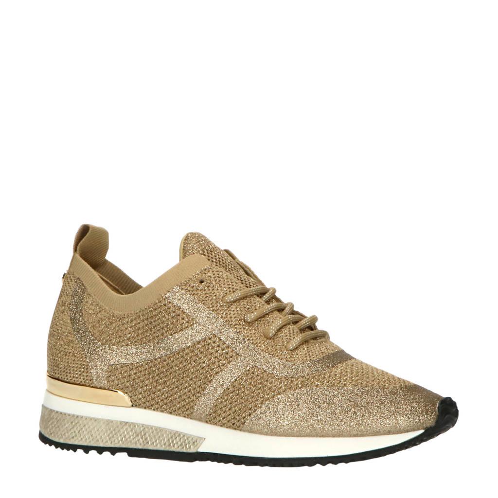 La Strada   sneakers met glitters goud, Goud/zilver
