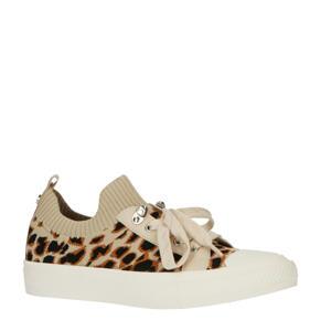 sneakers met panterprint beige