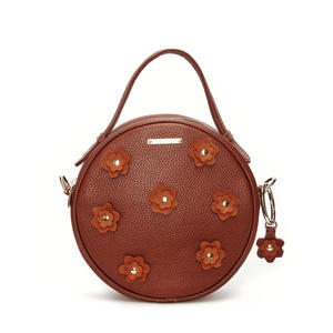leren crossbody tas Roundy Bag Flower cognac
