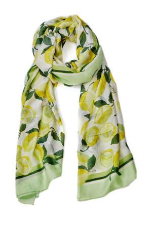 sjaal Loua mintgroen/geel