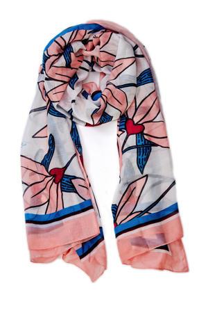 sjaal Loua roze/blauw