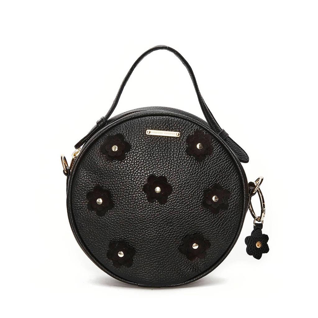 Fabienne Chapot  leren crossbody tas Roundy Bag Flower zwart, Zwart
