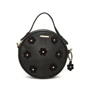 leren crossbody tas Roundy Bag Flower zwart