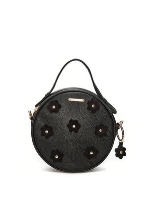 leren crossbody tas Roundy Bag Flower zwart