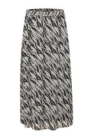 semi-transparante rok Dedna met all over print en plooien ecru/zwart