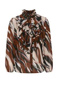 Saint Tropez blouse Lilly met all over print en ruches zwart/bruin, Zwart/bruin
