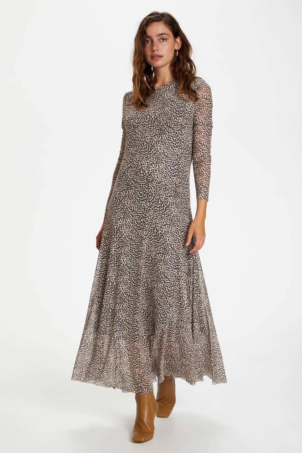 Soaked In Luxury semi-transparante maxi jurk Arine van gerecycled polyester beige/zwart, Beige/zwart