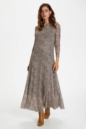 semi-transparante maxi jurk Arine van gerecycled polyester beige/zwart