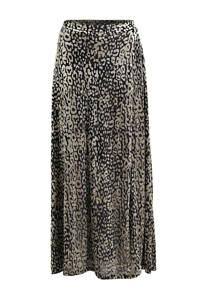 Soaked In Luxury rok Kamiko met all over print en plooien beige/zwart, Beige/zwart