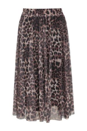 semi-transparante rok met panterprint bruin/zwart