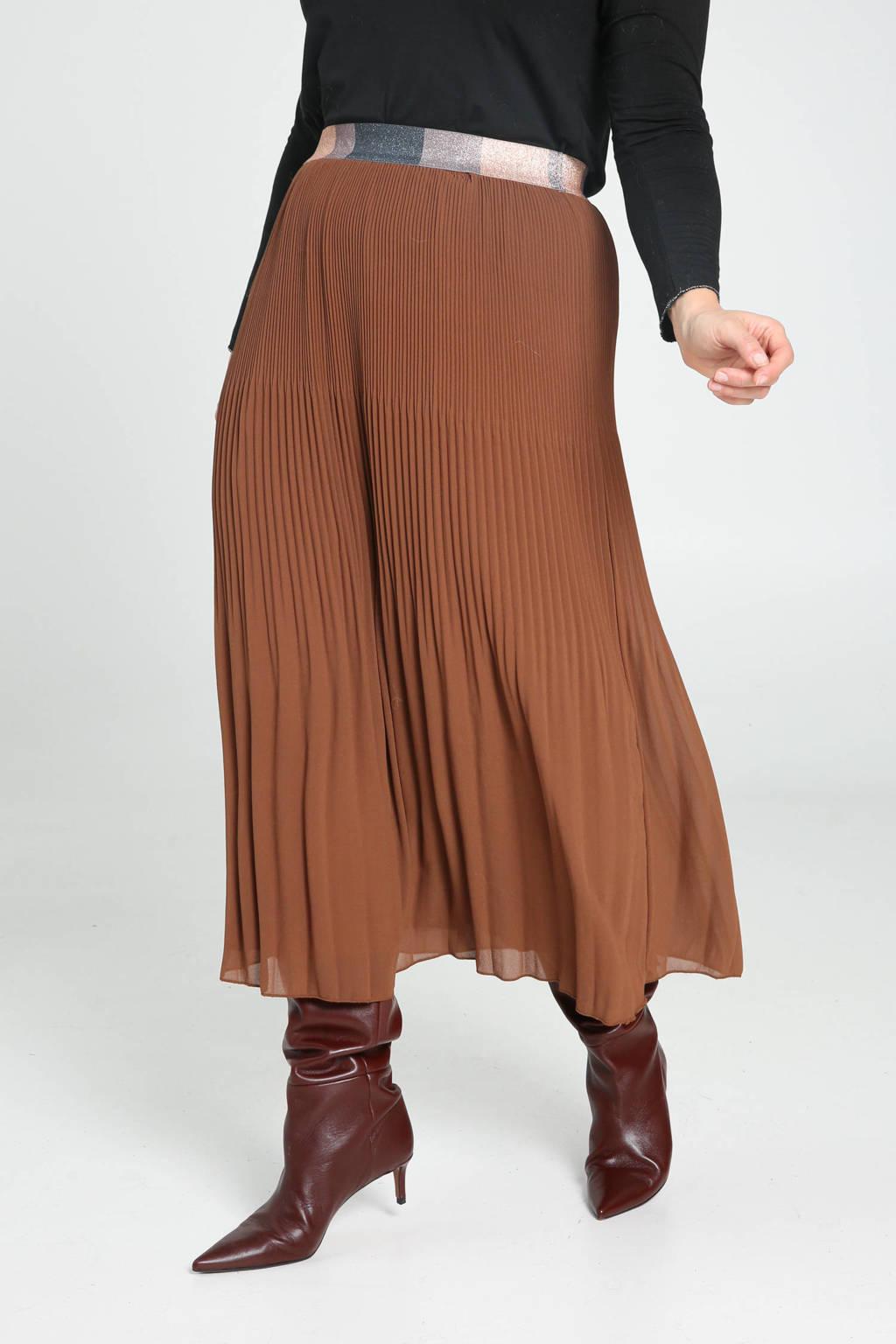 Paprika semi-transparante rok met glitters roodbruin/multi, Roodbruin/multi