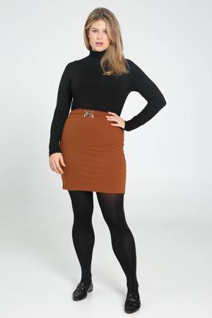rok met ceintuur bruin