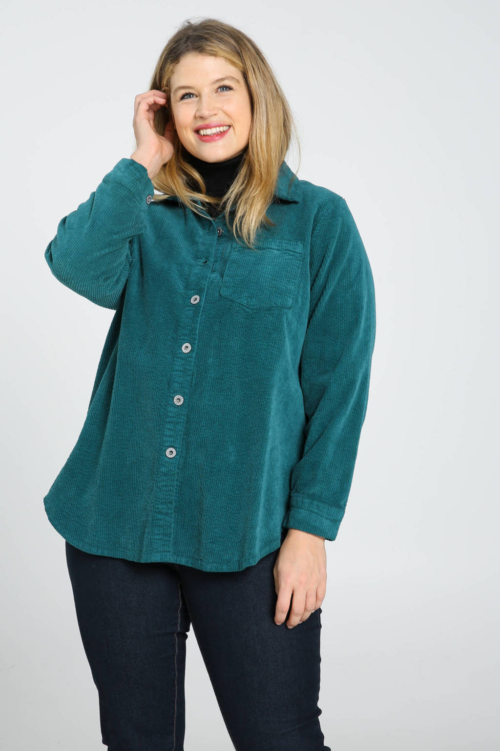 Paprika corduroy blouse groen, Groen